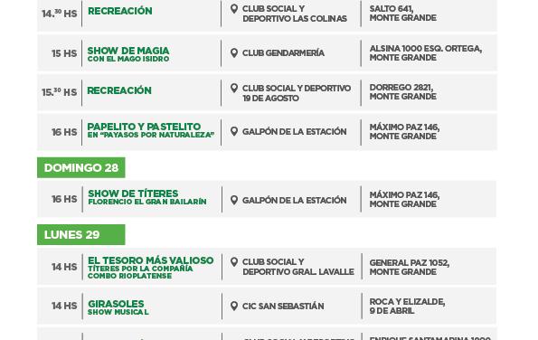 VACACIONES EN ECHEVERRIA, PROPUESTAS PARA LOS CHICOS